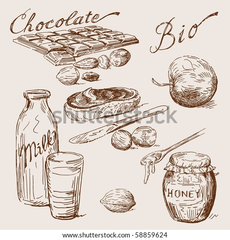 hand drawn chocolate - stock vector