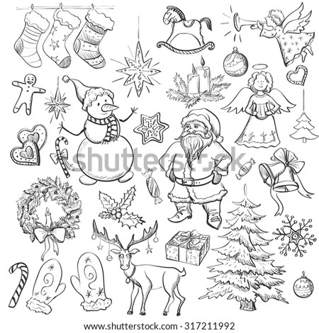 Hand drawn Christmas and New year elements with  Christmas mittens, candy cane, holly berries, smiling snowman, stocking with xmas tree, Deer,  Santa, angel, candle, christmas toys, gifts and bells. - stock vector