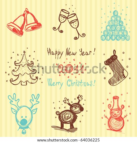 Hand-drawn Christmas and New Year icons - stock vector