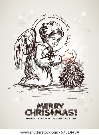 Hand drawn Christmas and New Years postcard with cute little angel decorating miniature Christmas tree. EPS10 contains transparency - stock vector