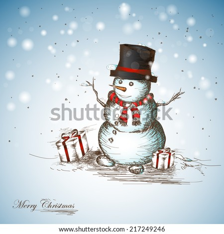 Hand drawn Christmas and New Years postcard with funny smiling snowman - stock vector