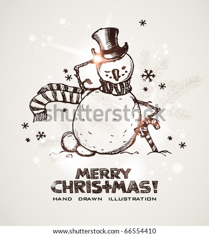 Hand drawn Christmas and New Years postcard with funny smiling winking snowman wearing silk hat, snowflakes and light effects. EPS10 contains transparency - stock vector