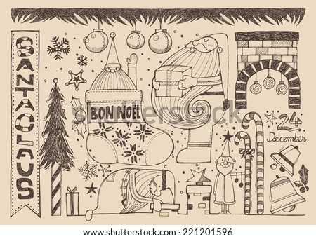 Hand drawn Christmas brown elements B - stock vector