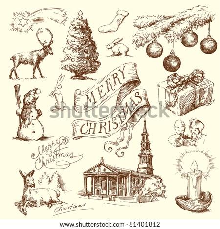 hand drawn christmas card - stock vector