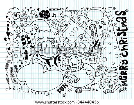 Hand drawn Christmas characters and elements, Vector illustration of Doodle