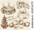 hand drawn christmas collection - stock vector