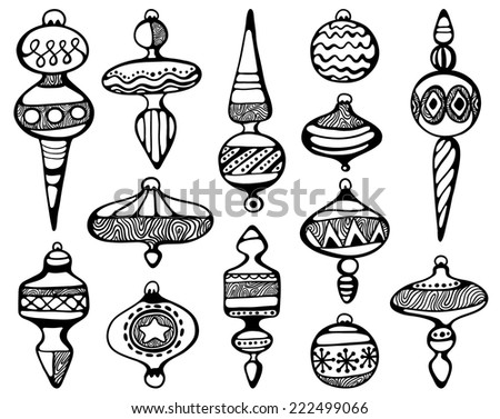 hand-drawn Christmas decorations  - stock vector