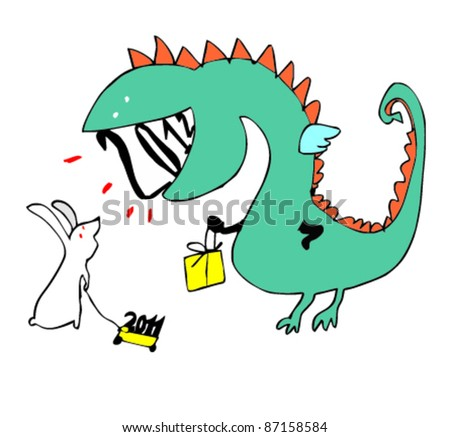 Handdrawn christmas dragon rabbit stock vector 87158584 shutterstock hand drawn christmas dragon and rabbit thecheapjerseys Gallery