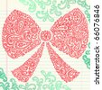 Hand-Drawn Christmas Holiday Henna Paisley Bow Sketchy Notebook Doodles Vector Illustration Design Elements on Lined Sketchbook Paper Background - stock
