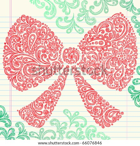 Hand-Drawn Christmas Holiday Henna Paisley Bow Sketchy Notebook Doodles Vector Illustration Design Elements on Lined Sketchbook Paper Background - stock vector
