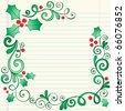 Hand-Drawn Christmas Holly Leaves Sketchy Notebook Doodles Border with Berries and Swirls- Vector Illustration Design Elements on Lined Sketchbook Paper Background - stock vector