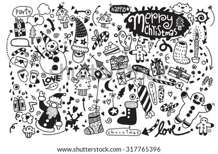 Hand drawn Christmas icon's set doodle, Vector illustration - stock vector