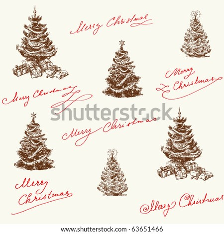 hand drawn christmas pattern - stock vector