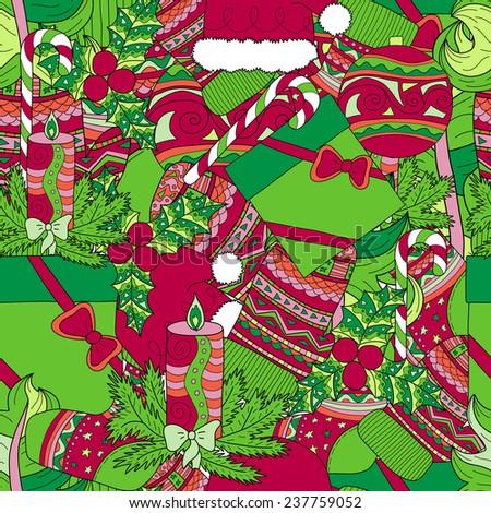 hand drawn christmas seamless pattern - stock vector
