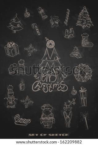 Hand Drawn Christmas Set. Christmas And New Year Symbols. Vector Illustration. Eps 10 - stock vector