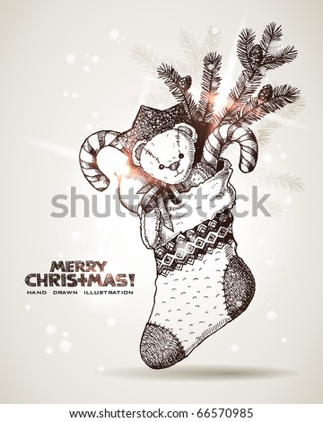 Hand drawn Christmas sock with gifts: plushy bear, sweet cane, decorative ball, branch of Christmas tree.  EPS10 contains transparency - stock vector