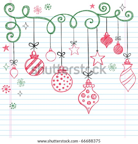 Hand-Drawn Christmas Tree Ornaments Sketchy Notebook Doodles- Vector Illustration Design Elements on Lined Sketchbook Paper Background - stock vector