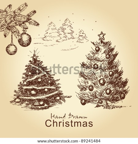 hand drawn christmas vintage set with christmas trees decorated with balls, for xmas design - stock vector