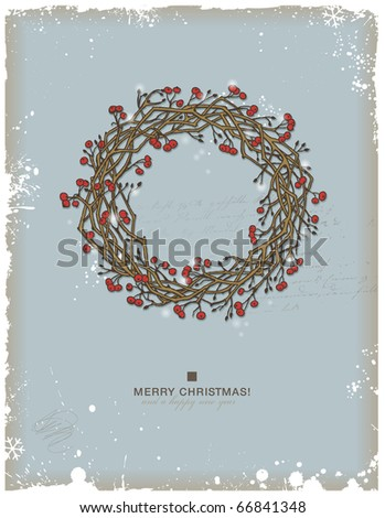 hand-drawn christmas wreath with red berries - stock vector
