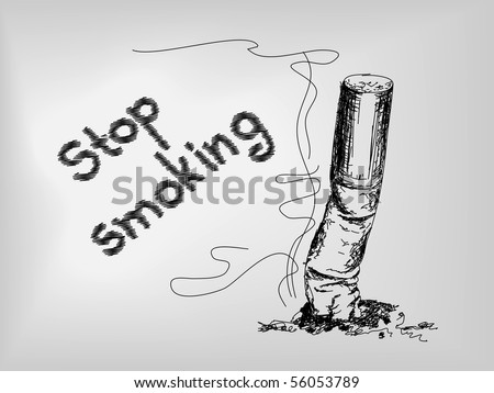 Hand drawn cigarette. No smoking. - stock vector
