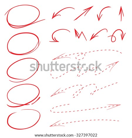 hand drawn circle, arrow, dashed arrows, vector highlighter elements - stock vector
