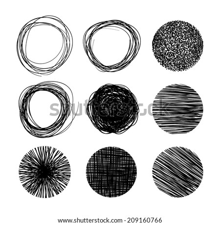 Hand drawn circle banners. Vector illustration. - stock vector