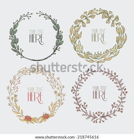 hand drawn circle floral frames - stock vector