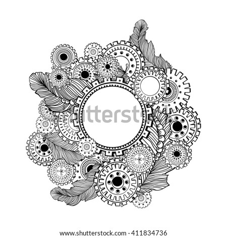 Hand drawn circle frame for photo with steampunk technology elements. Zentangle style design - stock vector