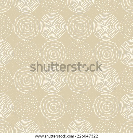 Hand drawn circle seamless pattern with texture background - stock vector