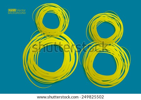 Hand drawn circles background, eight numbers,  Eps10 vector background for your design - stock vector