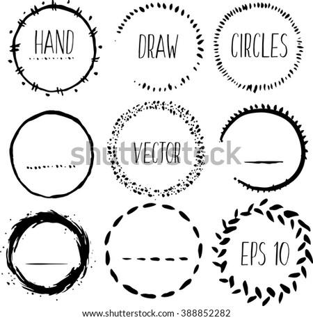 Hand drawn circles set, vector logo design elements - stock vector
