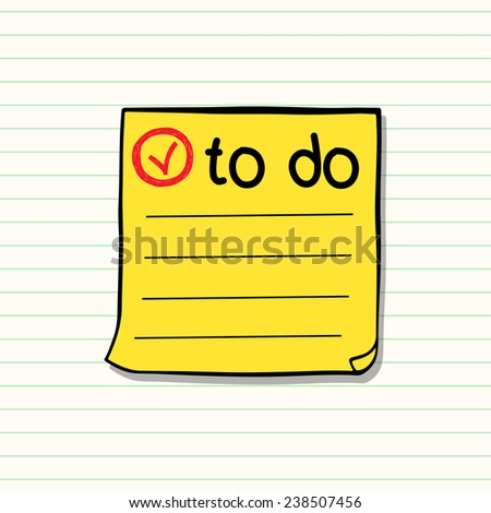 Hand drawn classic yellow paper sticker sketched in a doodle style. Yellow memo stick on lined notepaper background. - stock vector