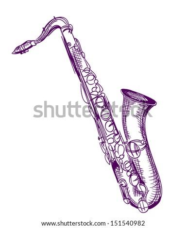 hand drawn classical alto saxophone - stock vector
