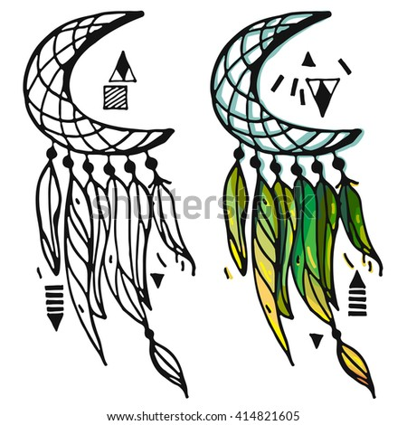 hand drawn clip art native american stock vector 414821605 rh shutterstock com