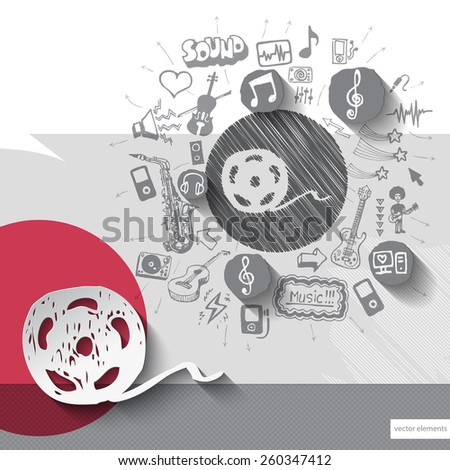 Hand drawn clip icons with icons background. Vector illustration - stock vector