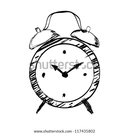 Hand drawn clock - stock vector