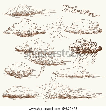hand drawn clouds - stock vector