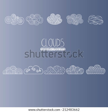Hand drawn clouds. Icons. Set of vector.  - stock vector
