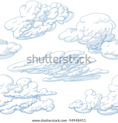 Hand drawn clouds seamless pattern - stock vector