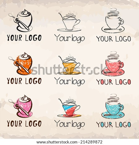 Hand-drawn coffee cups collection (logos) - stock vector