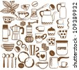Hand drawn coffee related symbols - stock