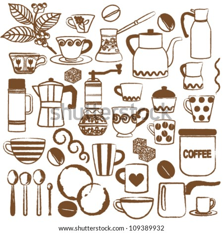 Hand drawn coffee related symbols - stock vector