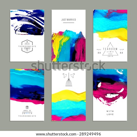 Hand drawn collection of artistic invitations made by acrylic homemade texture with trendy geometric icons and logotypes. Artistic background. Wedding, marriage, bridal, birthday, Valentine's day  - stock vector