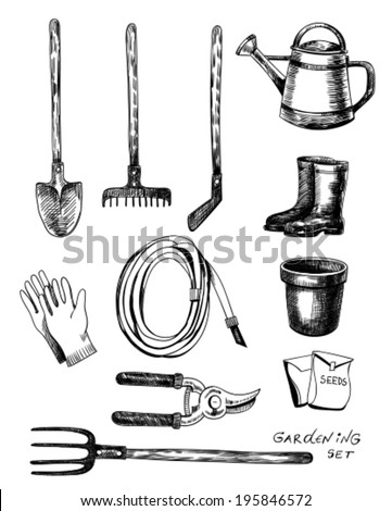 Hand - drawn collection of garden related objects and tools on white background - stock vector