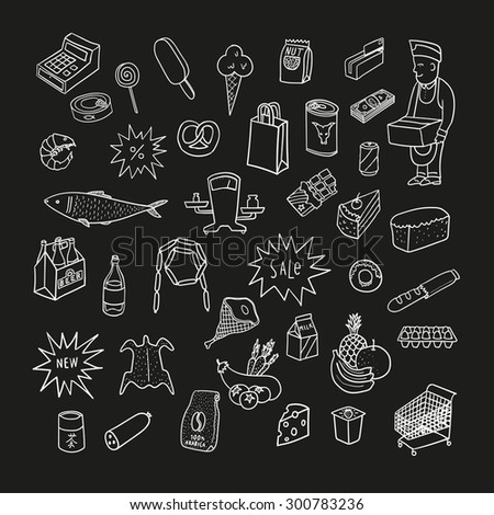 Hand drawn collection of supermarket symbols. Food, drinks, bakery. Chalkboard. - stock vector