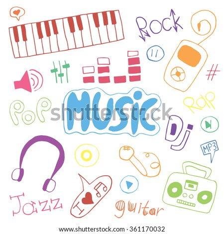 Hand-drawn collection with music doodles. Music icons set. Vector illustration.
