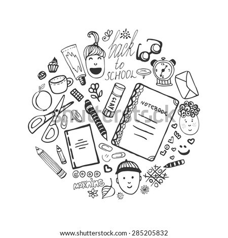 Hand drawn collection with school stationery and children icons. Vector office set in doodle style. Back to school - stock vector