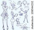 Hand drawn college girls, high school doodles - stock vector