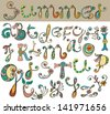 hand drawn color floral Alphabet, illustration, vector - stock photo