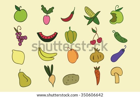 Hand Drawn color fruit and vegetable set. Set of various colorful hand draw vegetables and fruits. Doodle fruits and vegetables. Vegetables and fruits flat icons set.